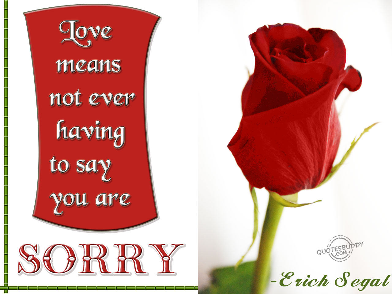 Love Means Not Ever Having To Say You Are Sorry ~ Aplology Quotes