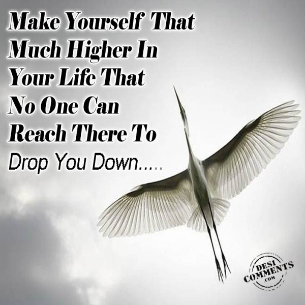 Make Yourself That Much Higher In Your Life That No One Can Reach There To Drop You Down