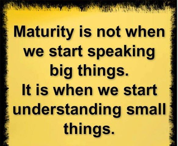 Maturity Is Not When We Start Speaking Big Things. It Is When We Start Understanding Small Things