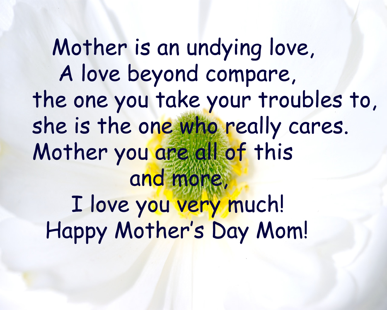 Mother Is An Undying Love, A Love Beyond Compare, The One You Take Your Troubles To, She Is The One Who Really Cares. Mother You Are All Of This And More, I Love You Very Much!