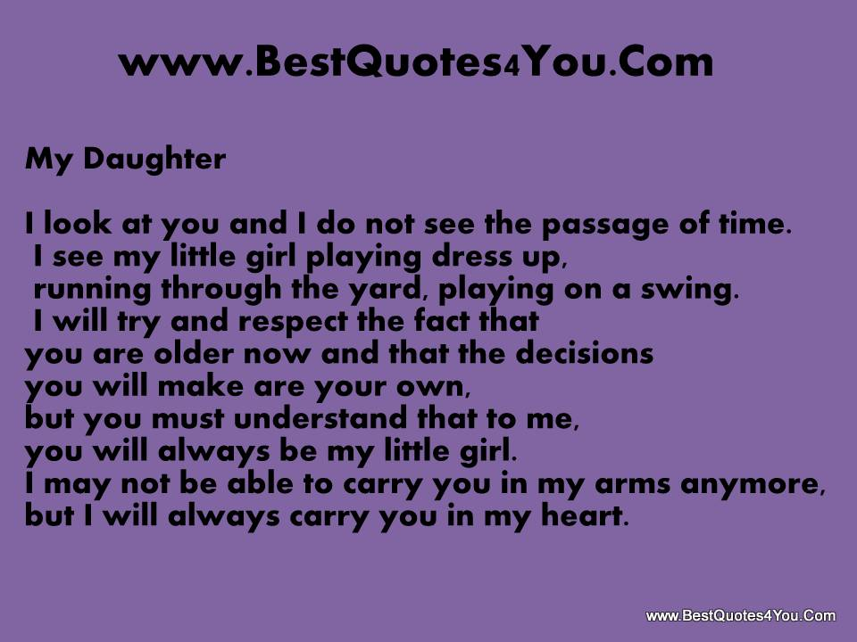 My Daughter, I Look At You And I Do Not See The Passage Of Time
