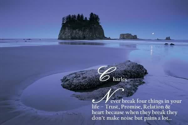 Never Break Four Things In Your Life, Trust, Promise, Trust And Heart Because When They Break They Don't Make Noise But Pain a Lot
