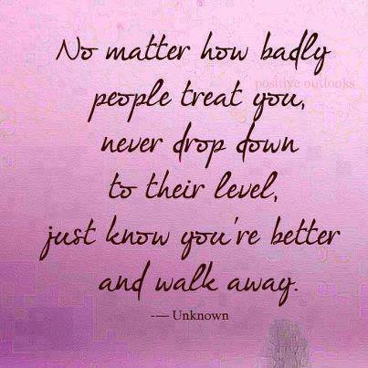 No Matter How Badly People Treat You, Never Drop Down To Their Level, Just Know You're Better And Walk Away