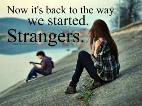 Now It's Back To The Way We Started. Strangers