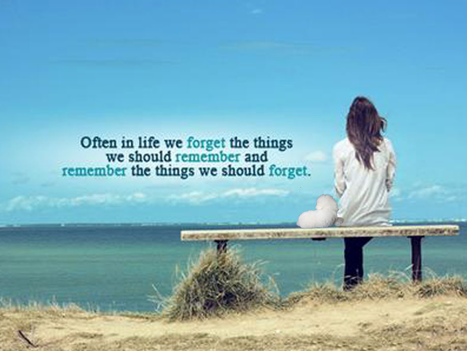 Image of girl sitting on bench. Text features quote: