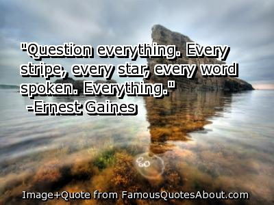 """Question Everything, Every Stripe, Every Star, Every Word Spoken. Everything"""