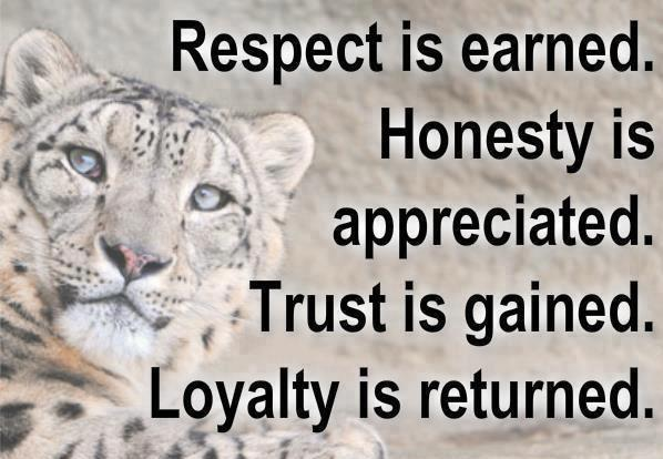 Respect Is Earned. Honesty Is Appreciated. Trust Is Gained. Loyalty Is Returned