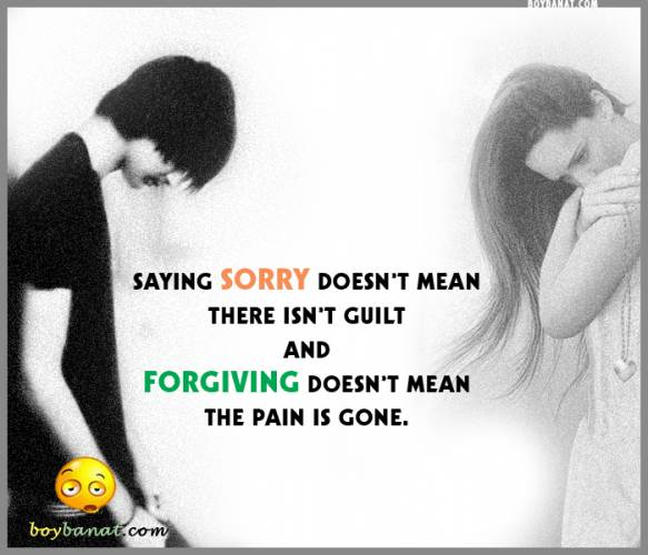 Saying Sorry Doesn't Mean There Isn't Guilt And Forgiving Doesn't Mean The Pain Is Gone ~ Aplology Quotes