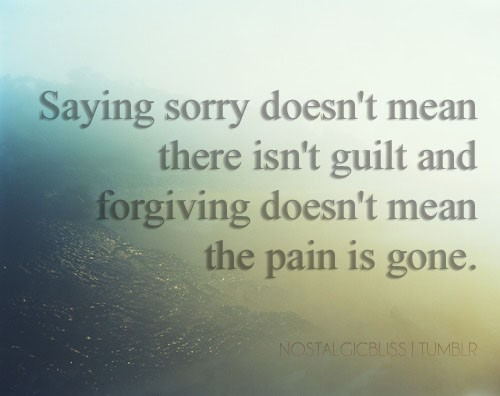 Saying Sorry Doesn't Mean There Isn't Guilt And Forgiving Doesn't Mean The Pain Is Gone ~ Apology Quote
