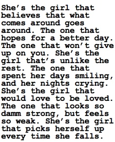 She's The Girl That Believes That What Comes Around Goes Around