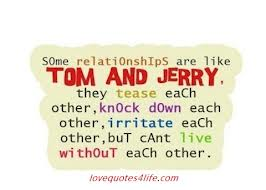 Some Relationships Are Like Tom And Jerry. They Tease Each Other, Knock Down Each Other, Irritate Each Other, But Cant Live Without Each Other