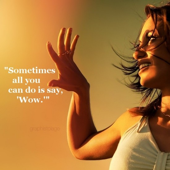 """Sometimes All You Can Do Is Say 'Wow' """