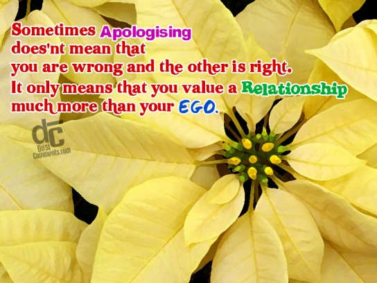 Sometimes Apologising Doesn't Mean That You Are Wrong And The Other Is Right. It Only Means That You Value a Relationship Much More Then Your Ego ~ Apology Quotes
