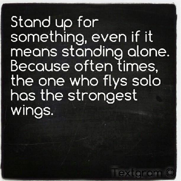 Stand Up For Something, Even If It Means Standing Alone. Because Often Times, The One Who Flys Solo Has The Strongest Wings