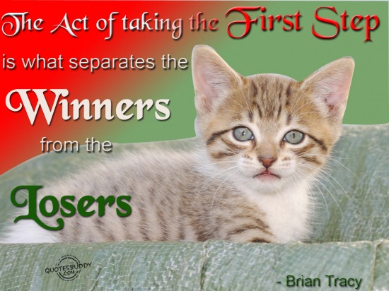 The act of taking the first step is what separates the winners from the losers.