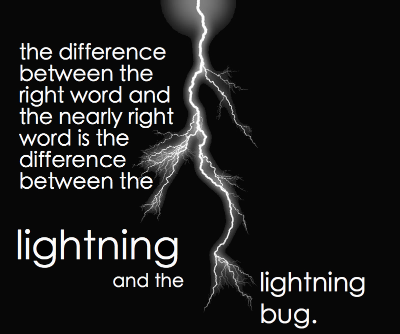 The Difference Between The Right Word And The Nearly Right Word And The Nearly Right Word Is The Difference Between The Lightning