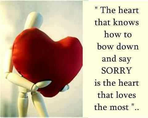 """""""The Heart That Knows How to Bow Down And Say Sorry Is The Heart That Loves The Most"""" ~ Apology Quotes"""