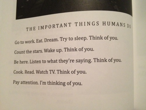 The Important Things Humans Do. Go To Work. Eat. Dream. Try To Sleep. Think Of Youq