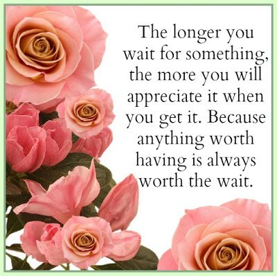 The Longer You Wait For Somethig, The More You Will Appreciate It When You Get It. Because Anything Worth Having Is Always Worth The Wait