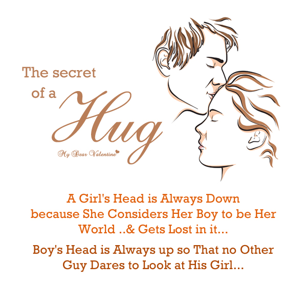 The Secret Of a Hug, A Girl Head Is Always Down Because She Considers Her Boy To Be Her World & Gets Lost In It. Boy's Head Is Always Up So That No Other Guy Dares To Looks At His Girl