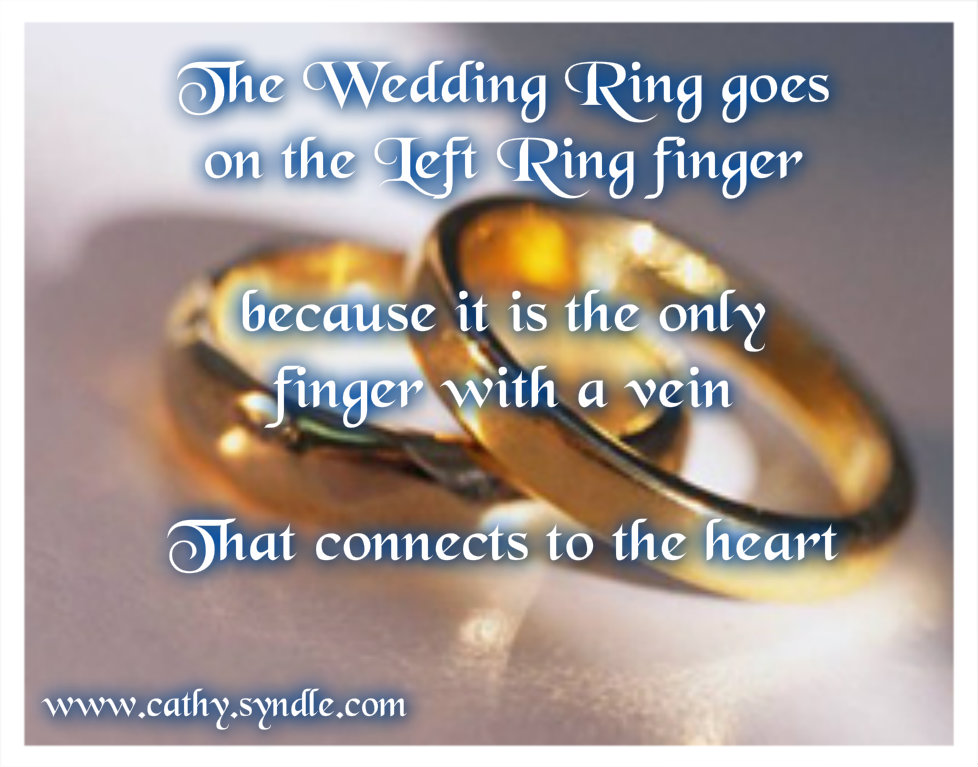 The Wedding Ring Goes On The Left Ring Finger Because It Is The Only Finger With A Vein That Connect To The Heart