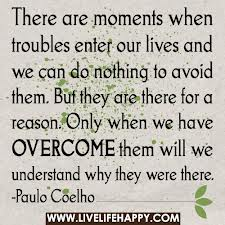 There Are Moments When Troubles Enter Our Lives And We Can Do Nothing To Avoid Them. But They Are There For a Reason. Only When We Have Overcome Them Will We Understand Why They Were There