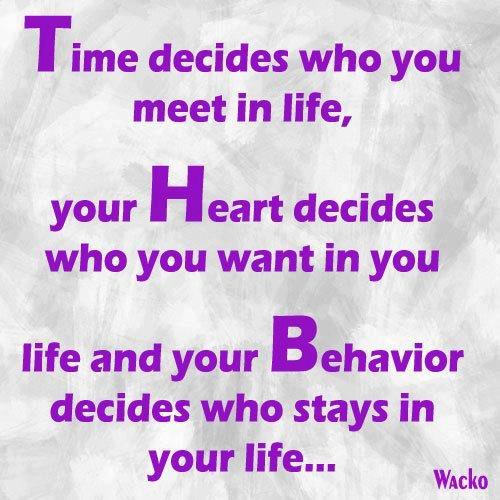 Time Decides Who You Meet In Life, Your Heart Decides Who You Want In You Life And Your Behavior Decides Who Stays In Your Life