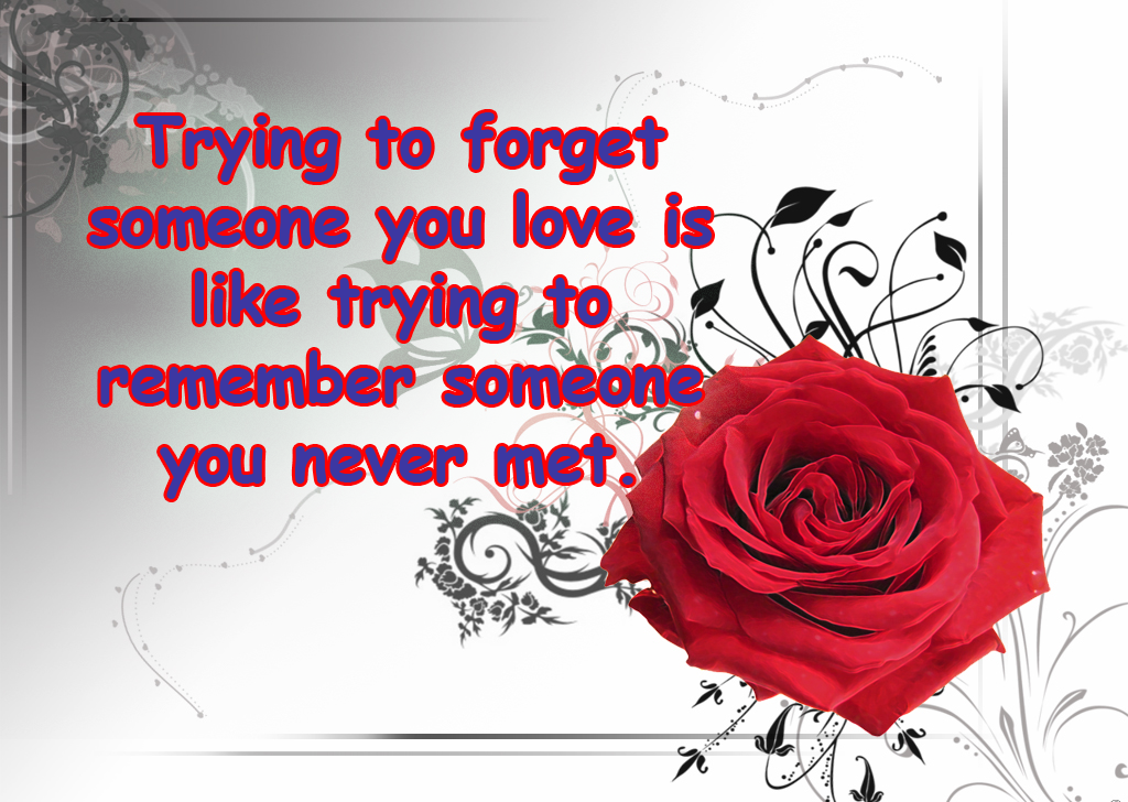 Trying To Forget Someone You Love Is Like Trying To Remember You Never Met