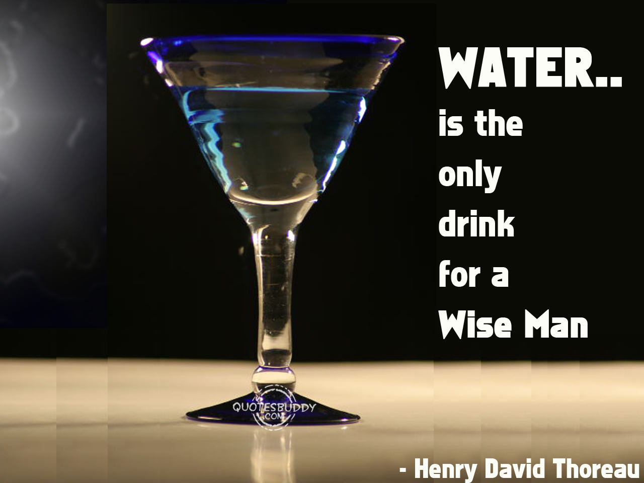 Water Is The Only Drink For A Wise Man