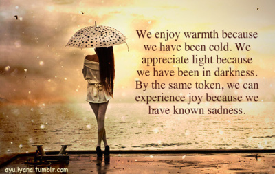 We Enjoy Warmth Because We Have Been Cold. We Appreciate Light Because We Have Been In Darkness, By The Same Token, We Can Experience Joy Because We Have Known Sadness