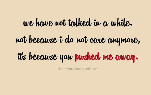We Have Not Talked In a While Not Because I Do Not Care Anymore, It's Because You Pushed Me Away