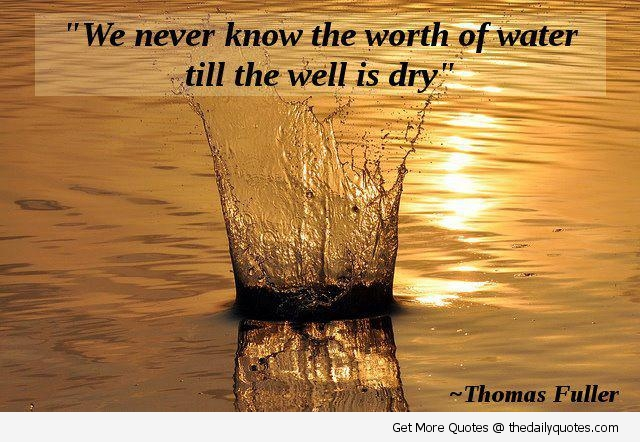 """""""We Never Know The Worth Of Water Till The Well Is Dry"""""""