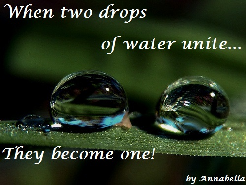 When Two Drops Of Water Unite.They Become One!