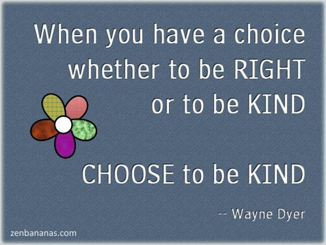 When You Have a Choice Whether To Be Right Or To Be Kind Choose To Be Kind