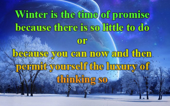 Winter Is The Time Of Promise Because There Is So Little To Do Or Because You Can Now And Then Permit Yourself The Luxury Of Thinking So