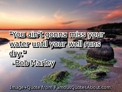 """""""You Ain't Gonna Miss Your Water Until Your Well Runs Dry"""""""
