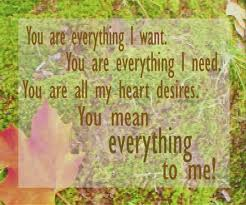 You Are Everything I Want You Are Eveything I Need. You Are All My Heart Desires. You Mean Everything To Me!
