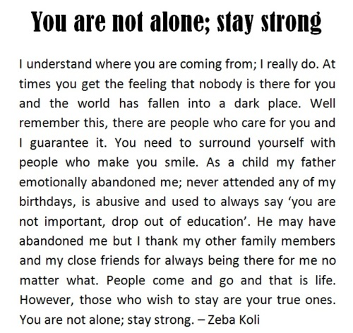 You Are Not Alone, Stay Strong