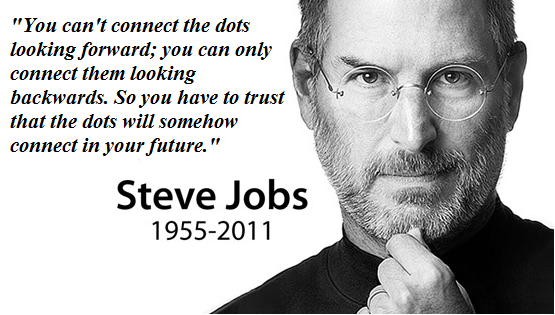 """""""You Can't Connect The Dots Looking Forward, You Can Only Connect Them Looking Backwards. So You Have To Trust That The Dots Will Somehow Connect In Your Future"""""""