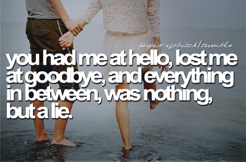 You Had Me At Hello, Lost Me At Goodbye, And Everything In Between, Was Nothing, But a Lie