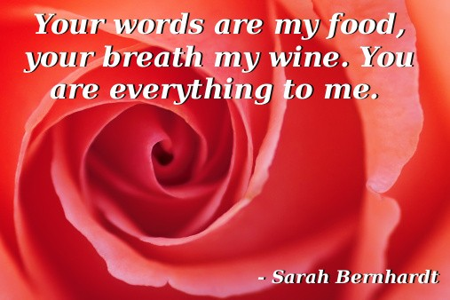 Your Words Are My Food, Your Breath My Wine. You Are Everything To Me