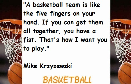 """"""" A Basketball Team Is Like The Five Fingers On Your Hand. If You Can Get Them All Together, You Have A Fist. That's How I Want You To Play """" - Mike Krzyzewski"""