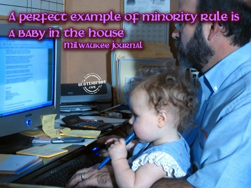 A Perfect Example Of Minority Rule Is A Baby In The House.
