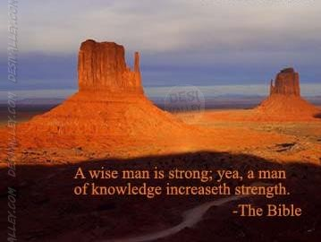 A Wise Man Is Strong, Yea, A Man Of Knowledge Increaseth Strength. - The Bible