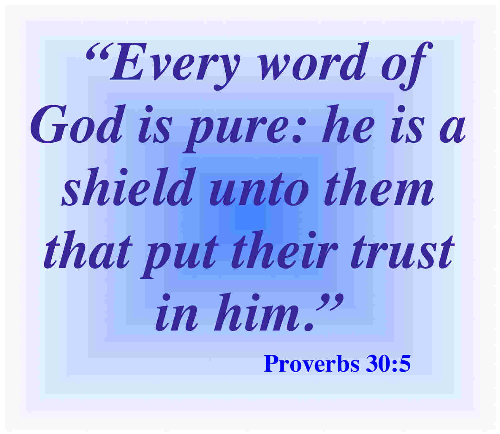 """ Every Word Of God Is Pure, He Is A Shield Unto Them That Put Their Trust In Him "" ~ Bible Quotes"