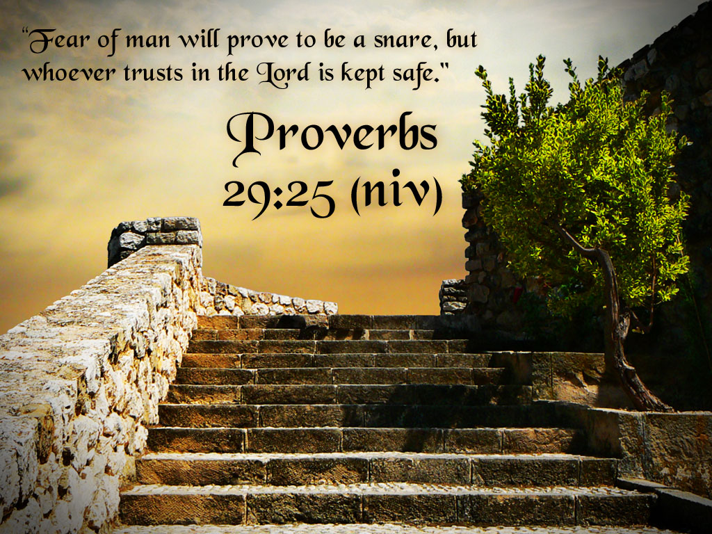 """"""" Fear Of Man Will Prove To Be A Snare, But Whoever Trust in The Lord Is Kept Safe """" ~ Bible Quotes"""