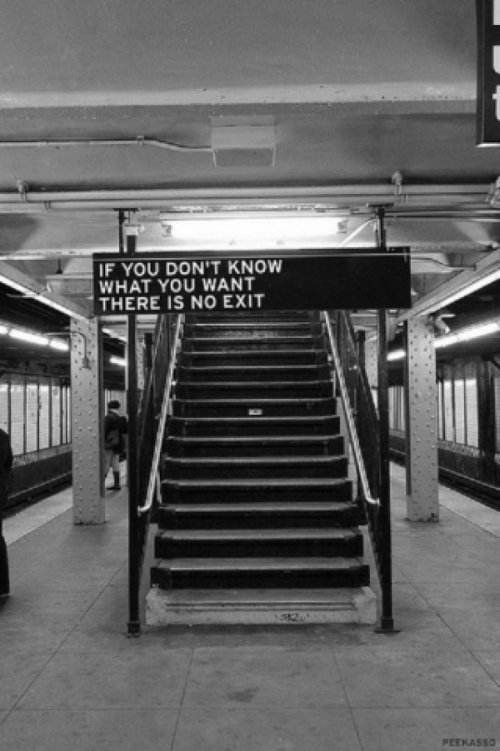 If You Don't Know What You Want There Is No Exit