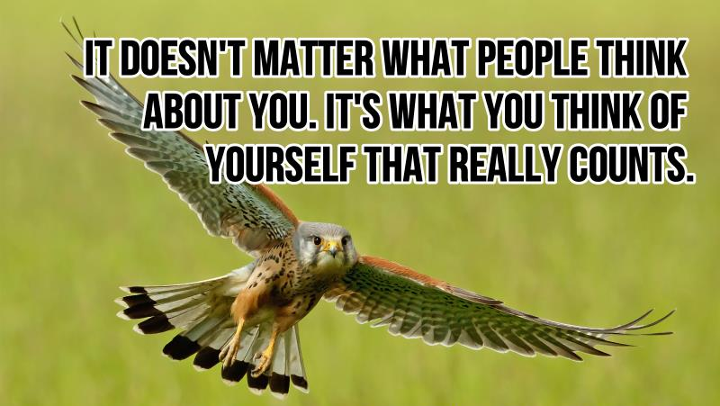 It Doesn't Matter What People Think About You. It's What You Think Of Yourself That Really Counts