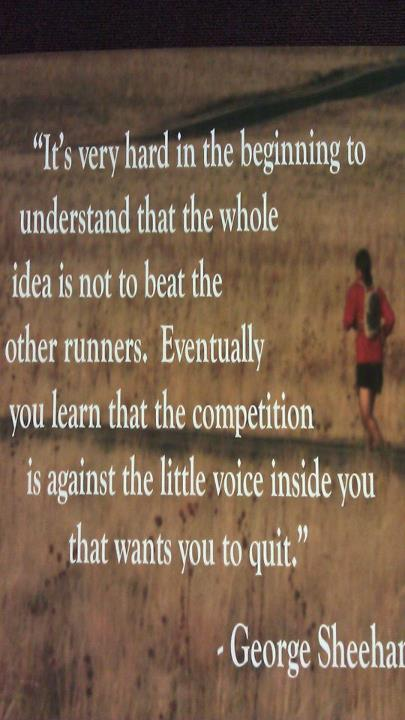 It's Very Hard In The Beginning To Understand That The Whole Idea Is Not To Beat The Other Runners