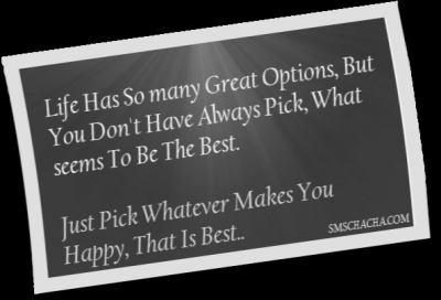 Life Has So Many Great Options, But You Don't Have Always Pick, What Seems To Be The Best. Just Pick Whatever Makes You Happy, That Is Best